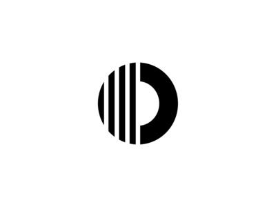 Geometric Letter O with Stripes