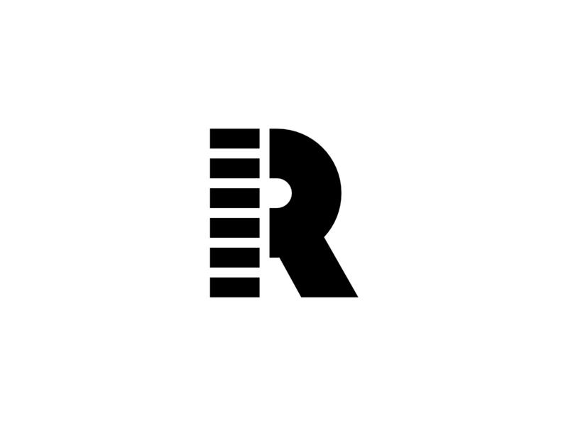 Geometric Letter R Horizontal Lines branding logo icon vector design white and black strong bold geometric r letter lines line