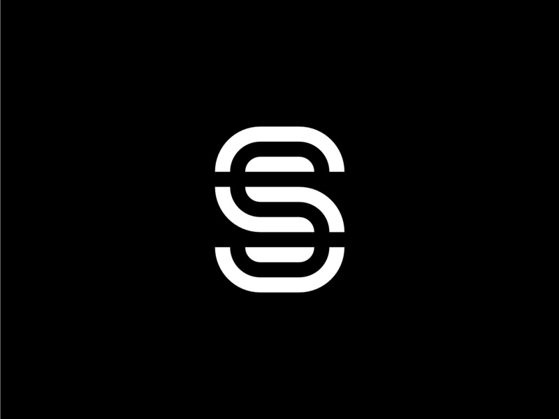 Modern Geometric Letter S strong line icon geometric design bold and white logo black