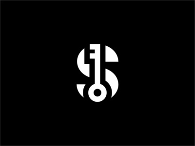 Letter S with a Key monogram icon bold geometric white black design logo modern key s letter security secure safety