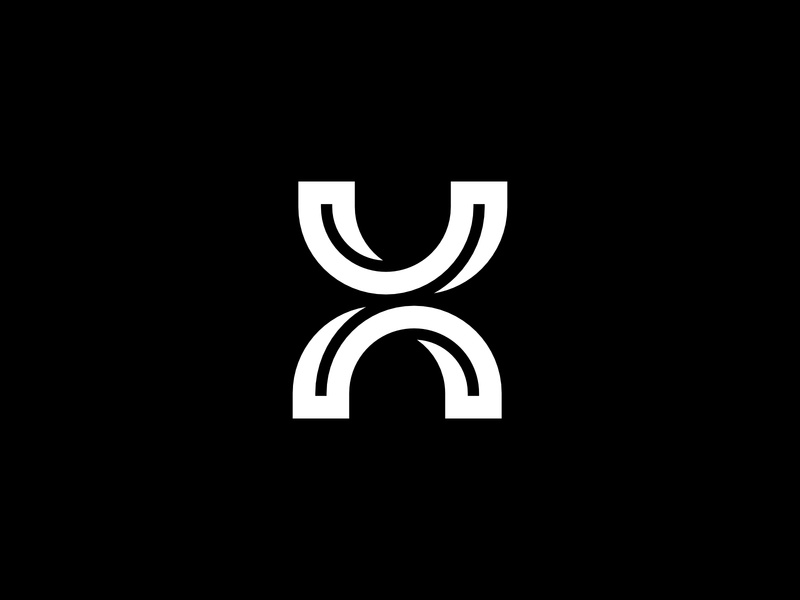 Letter X Curved Round Lines strong round letter vector icon bold geometric design white logo black