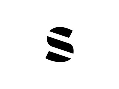 Letter S Minimalistic Three Lines diagonal lines three stripes stripe and letter icon bold geometric design white logo black