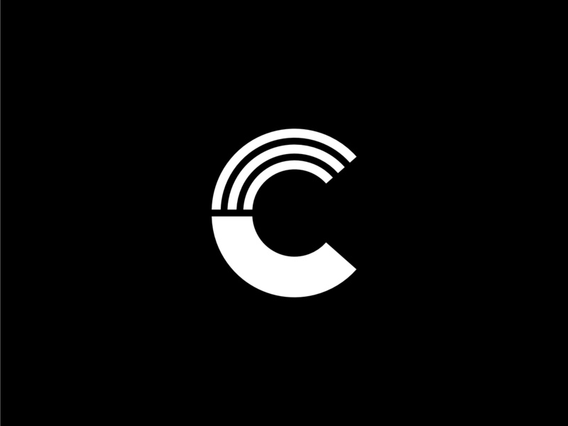 Letter C Geometric Lines vertical lines line strong c letter bold geometric design white logo black