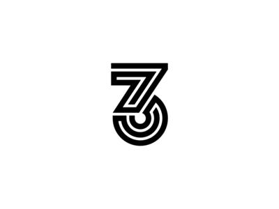 Geometric Number 3 Design number 3 three lines line and icon bold geometric white logo design black