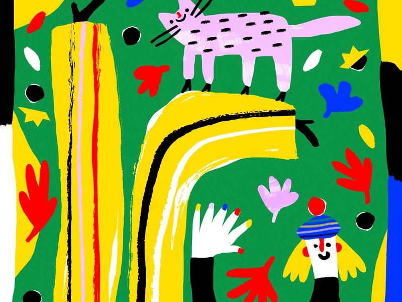 Autumn basia flores kid art art minimal cat vector illustration