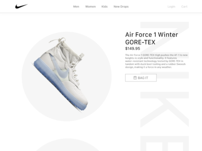 Nike Shoe Showcase Store Page