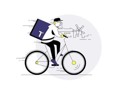 Delivery Heroes road fastfood meal food speed delivery bike guy edvertising e-bike pizza delivery windmill dutch bikes sketch visual design illustrator illustration