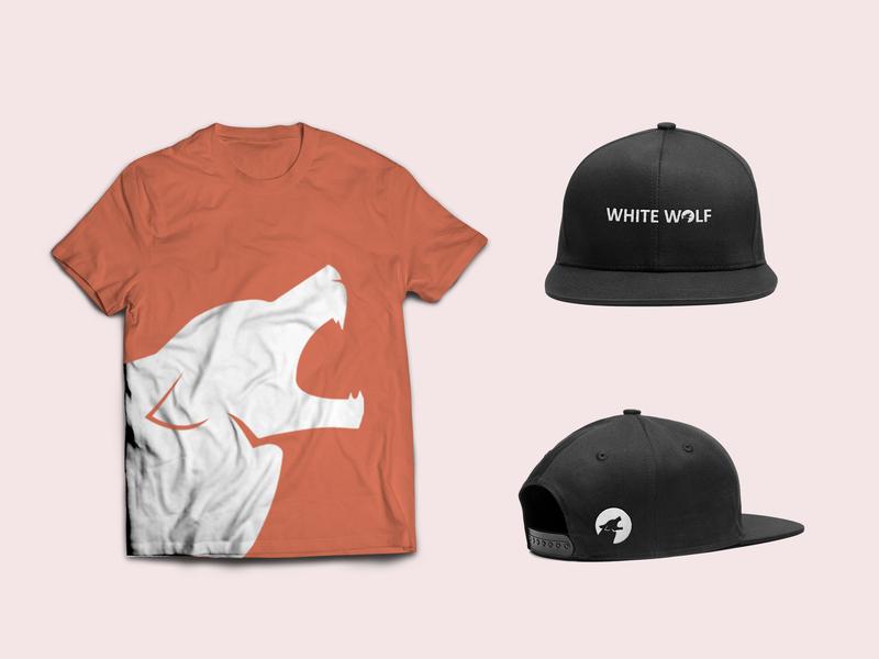 White Wolf tshirt cap brand identity design photoshop adobe ilustrator brand brand identity branding mockup cap tshirt tshirt design