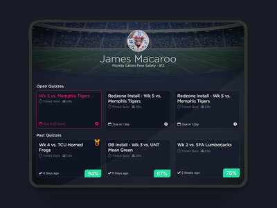 Sports Quiz iPad App ux ui sports dark ui design app