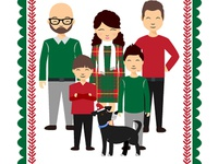 Happy Family Illustration for Christmas Card