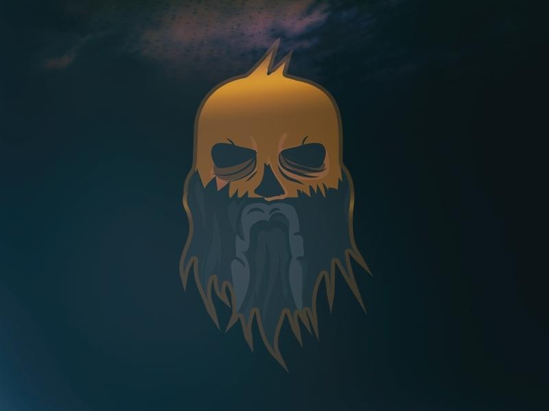 Golden Age - Berserker SC Logo gold golden skull bearded beard vikings viking branding vector design logo