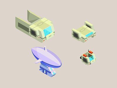 Design element for a Robot game 2/3 illustration vehicles