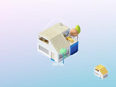 Aerial Art Direction app octanerender cinema4d icons climate environment nature product design illustration 3d
