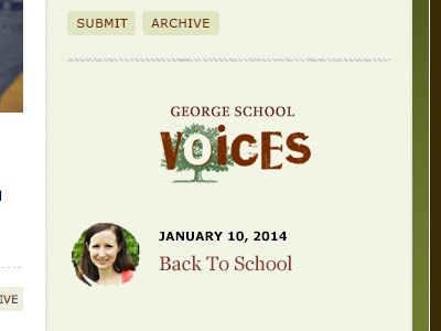 GS Voices Widget Concept wood type lead avatar stamped letters