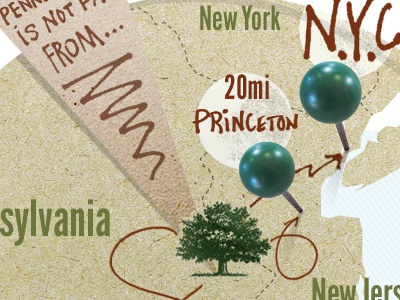 Locations relative to Newtown, Pennsylvania hand drawn lettering arrows map pins
