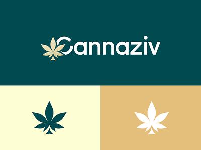 Cannaziv green vector logo design minimal flat brand identity weed cannabis logo brand