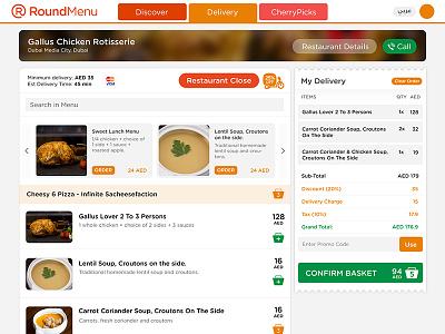 RoundMenu - Delivery Menu menu delivery online food delivery order online