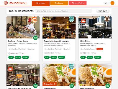 RoundMenu - Top Ten Restaurant oder food user interface dubai restaurants ios app restaurant