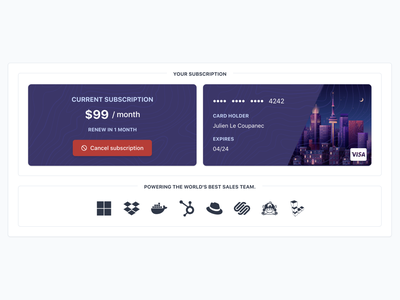 Subscription Summary with Cancellation Button payment method credit cards credit card cancel cancellation subscriptions subscription box subscription