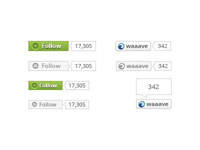 Follow & Share Buttons photoshop psd social freebie button follow hover share