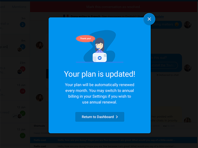 A Minimalist Blue Popup with Tiny Illustration 🌈 upgrade popup blue sketch