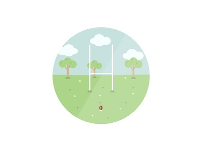 Rugby in the park flat minimal clean simple illustration park rugby