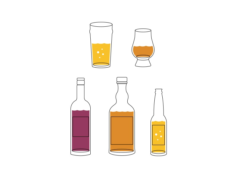 Drink icons 2 alcohol illustration icons wine bottle whisky beer dram pint drink