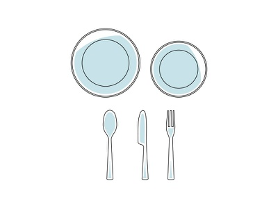 Tableware icons flat clean tableware cutlery fork knife spoon plates iconography icons