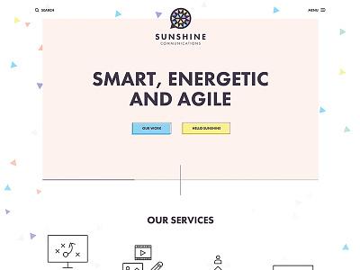 Sunshine Communications colorful clean flat minimal responsive web design website