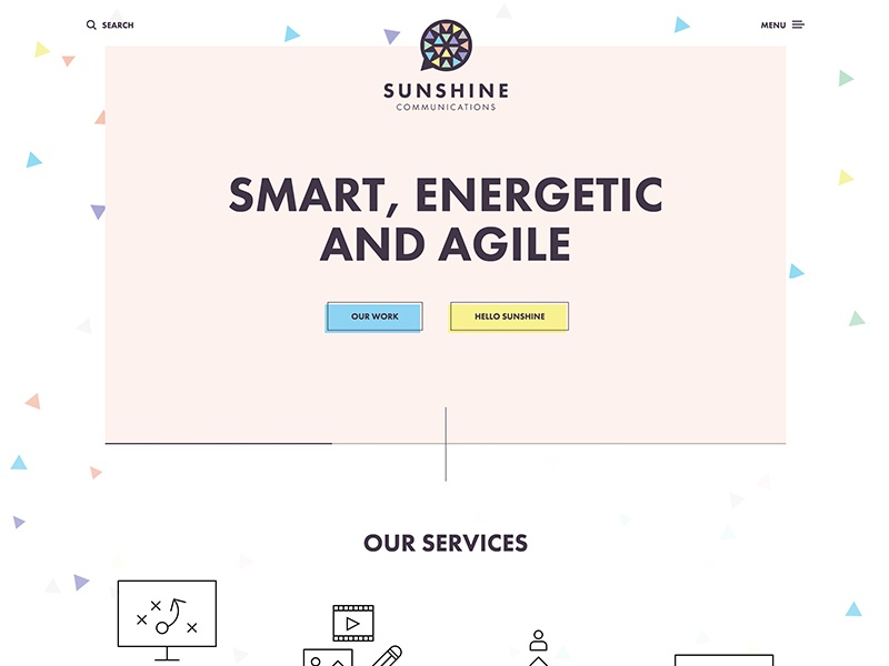 Sunshine Communications colorful clean flat minimal responsive web design website