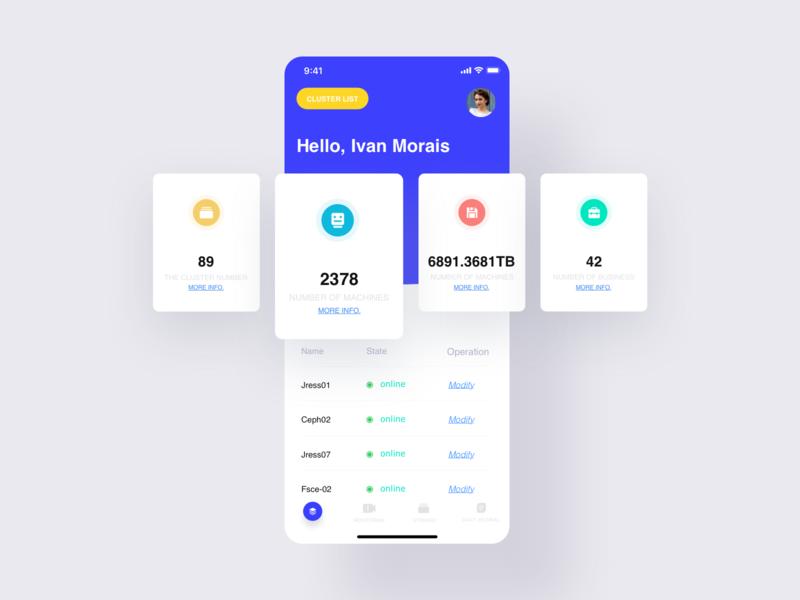 Storage data  Mobile UI 01 data branding app ui design