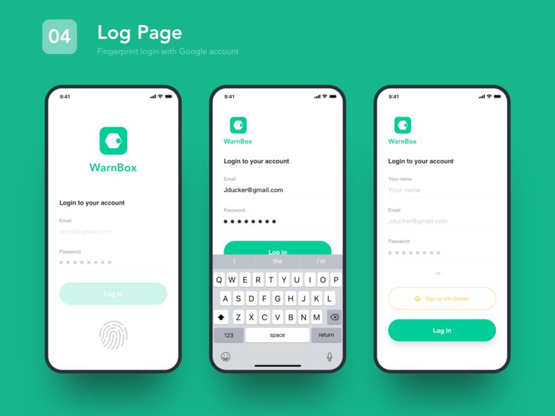 04 log page sketch data app ux ui design