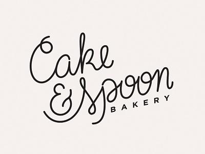 Cake & Spoon typography bakery logo