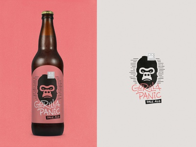 Two To Tango type illustration gorilla packaging label beer