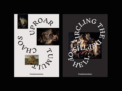 Pandaemonium Branding chaos clean branding layout design poster layouts typography
