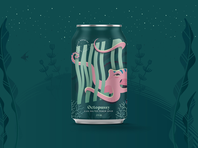 Wild Brewing Co. Octopussy illustration sea ocean octopus wild design label packaging peach sour beer