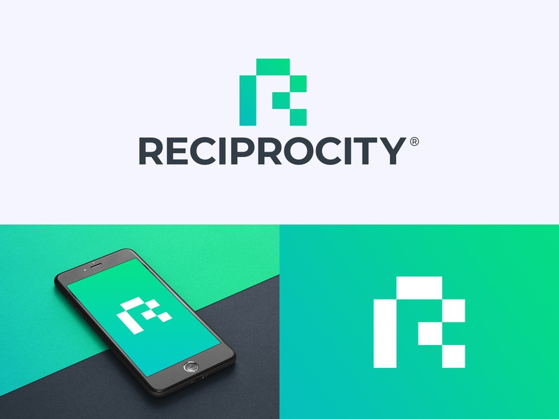 Reciprocity Logo Design podcast monogram abstract marketing media agency media apps binary r monogram r logo tech crypto cryptocurrency trading finance fintech technology blockchain branding logo design