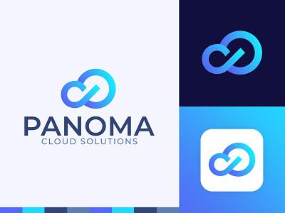 Panoma Logo Design consulting crypto network monogram software hosting shield cloud logo cloud bigdata tech marketing cryptocurrency technology fintech finance blockchain branding logo design
