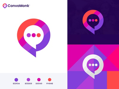 Convomok Logo Design modern conversation communication community software marketing agency media agency app icon chatbot chat logo chat bubble app design brand cryptocurrency technology fintech blockchain branding logo design