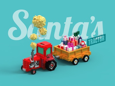 santa's tractor smoke voxel-art trailer gifts tractor santa