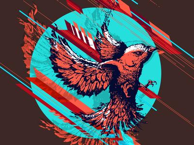 Rt colors moon bird sketch mural