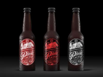 Craft beer #6 plant pattern black--white label bottle horses pilsner beer craft