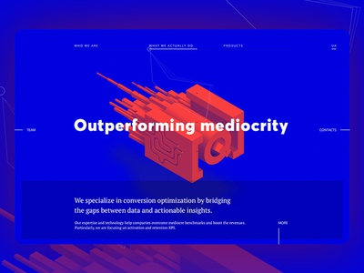 Home page with interactive 3D element forms ui slider element 3d interactive page home site web