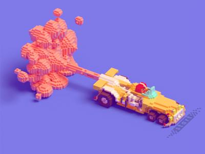 Racing bolide driver wheels model start voxel pink smoke bolide game car racing