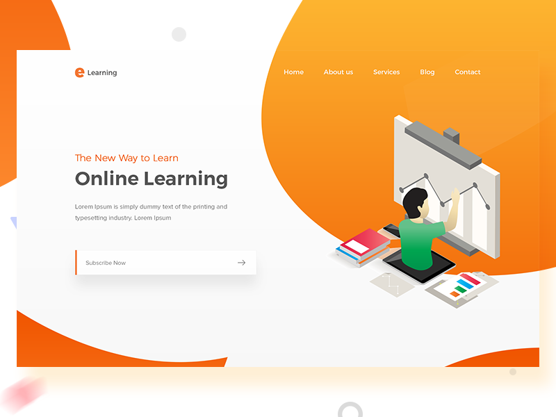 e-Learning - Landing page website webdesign gradients web ui online color home learning landing page