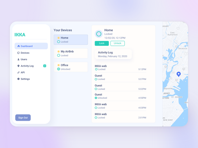 Dashboard Design  ✨ smarthome ui minimalistic lock device dashboard smartlock