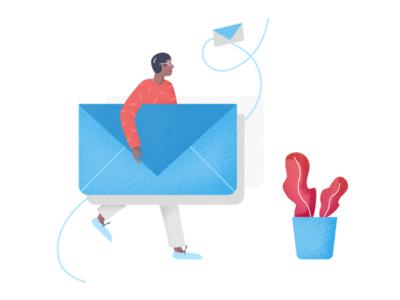 Transparent Communication illustration modern office plant communication letter man envelope