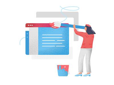 Agency-centric service. website illustration melker ui ux interactive learning