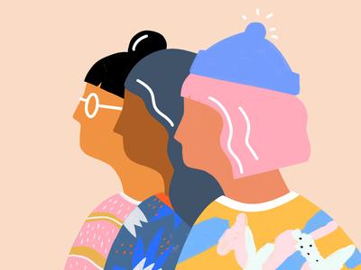 Girls illustration autumn feminist girl power girl