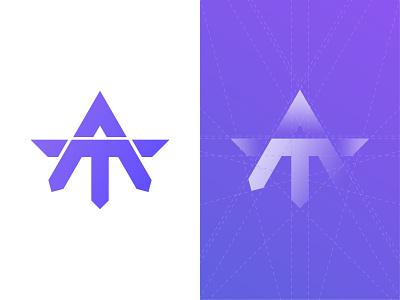 A + T logotype brand identity branding design grid logo logogrid gradient concept letter t letter a monogram monogram logo combination mark branding